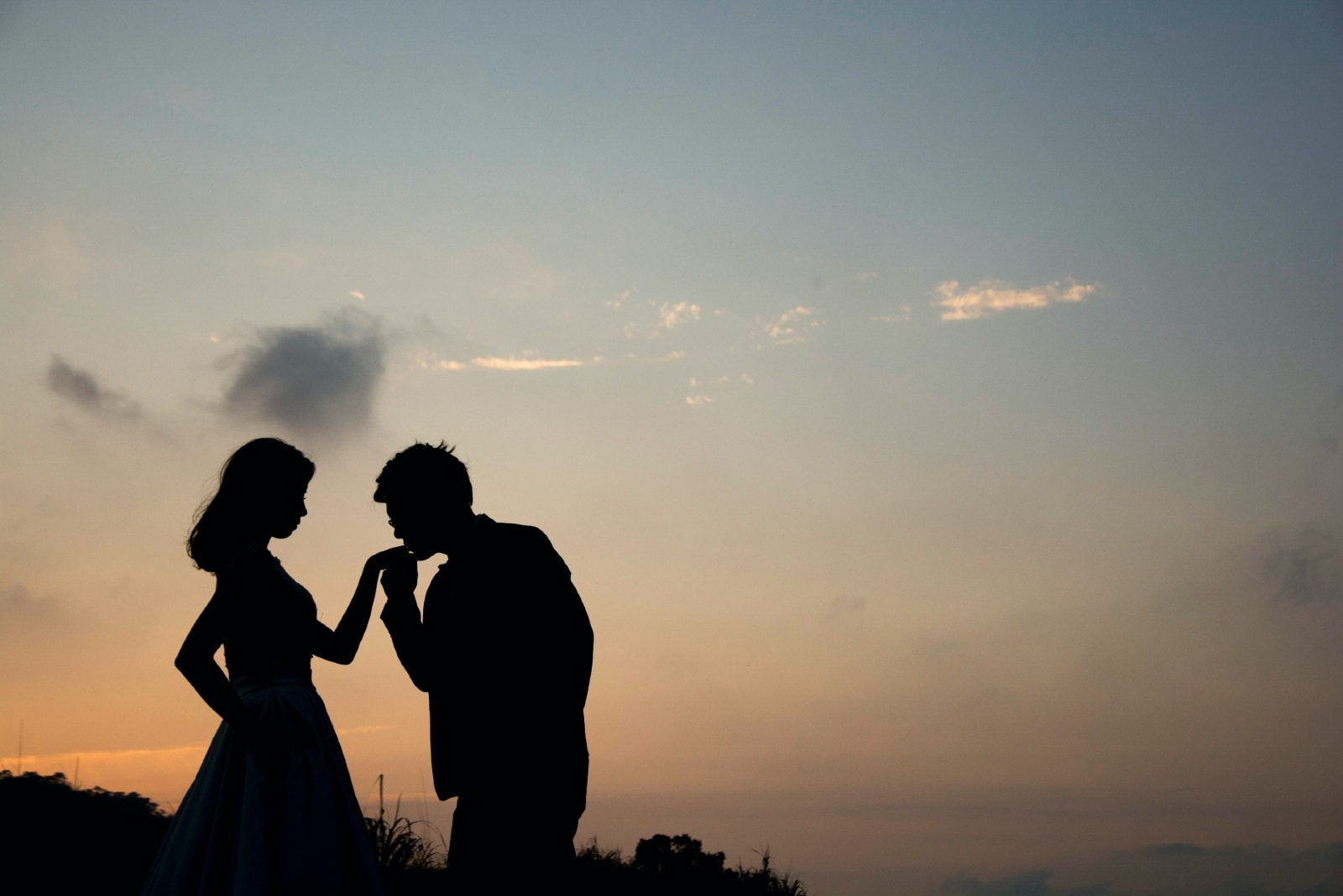 man kissing woman's hand during sunset
