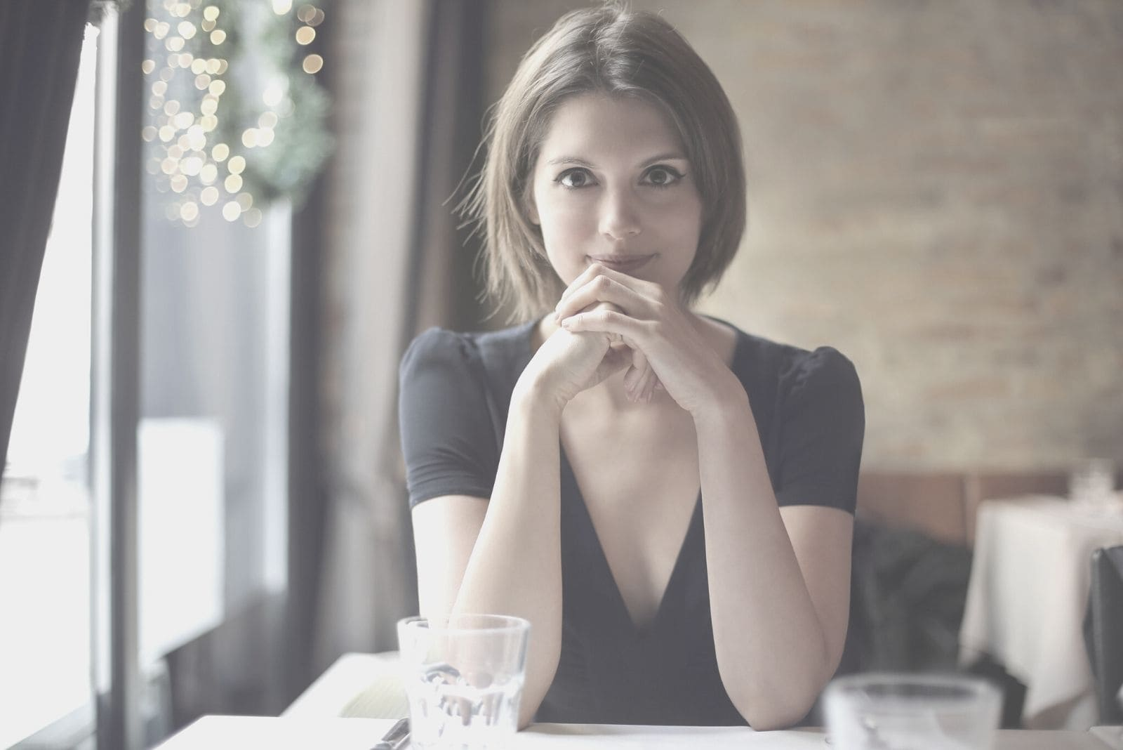 young woman staring at her partner in a date