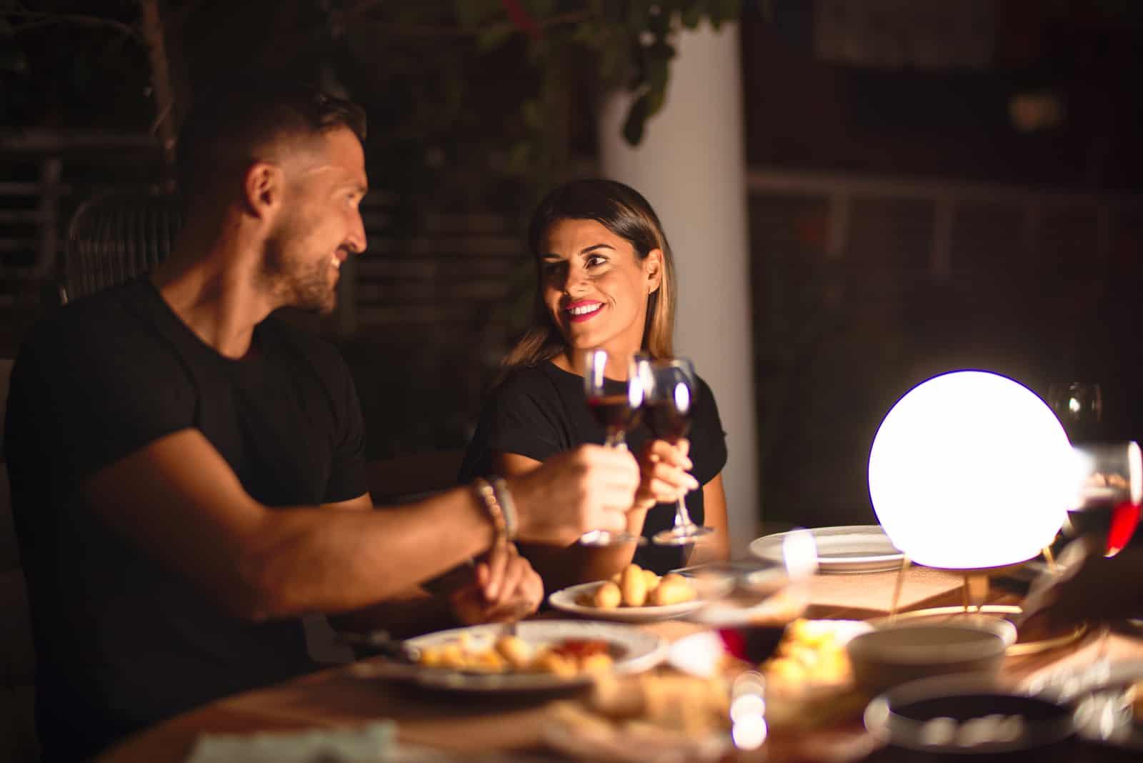 loving couple in a restaurant for dinner