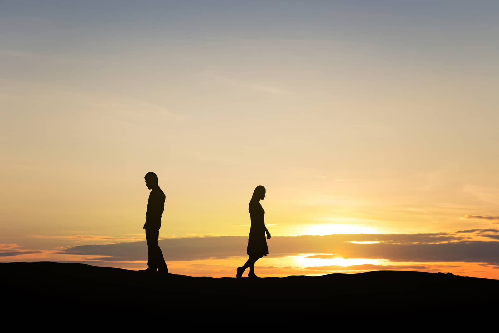 the woman walks away from the man