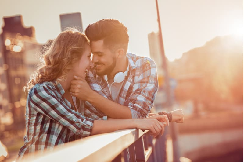 a man wants to kiss a beautiful woman