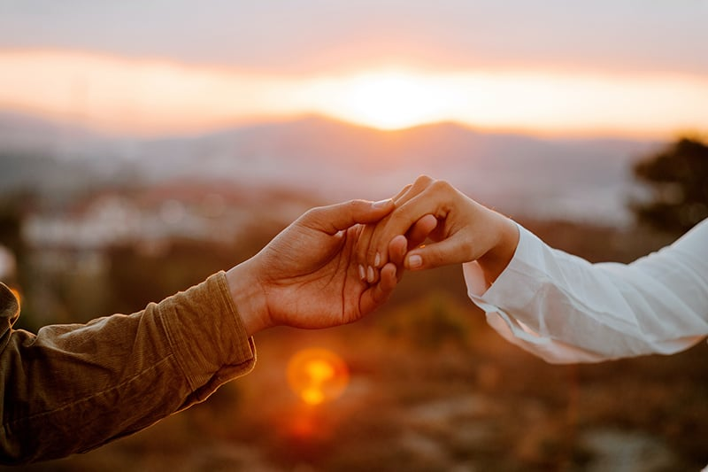 couple holding hands in the field on sunset