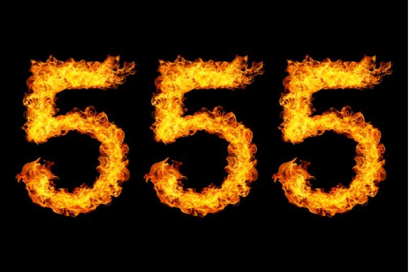 number 555 on a black background