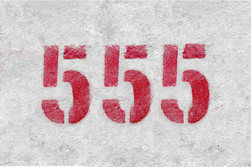 number 555 on a gray background