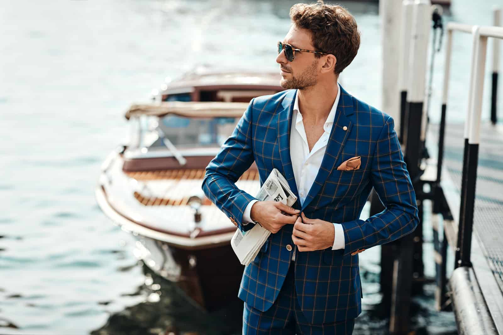 Young handsome man in classic suit