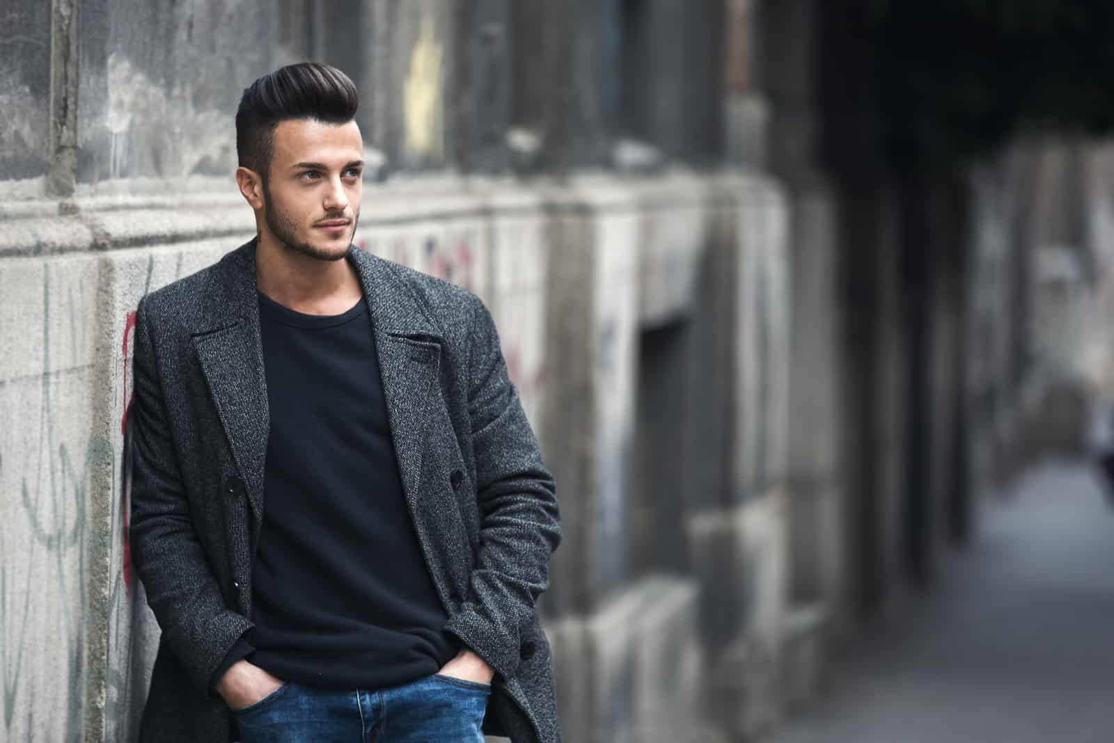 handsome stylish man in elegant coat